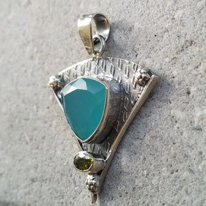 Faceted Aqua Chalcedony Pendant Sterling Silver